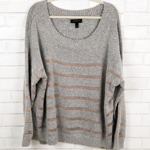 Lane Bryant Stripe Gray & Rose Gold Sweater 22/24